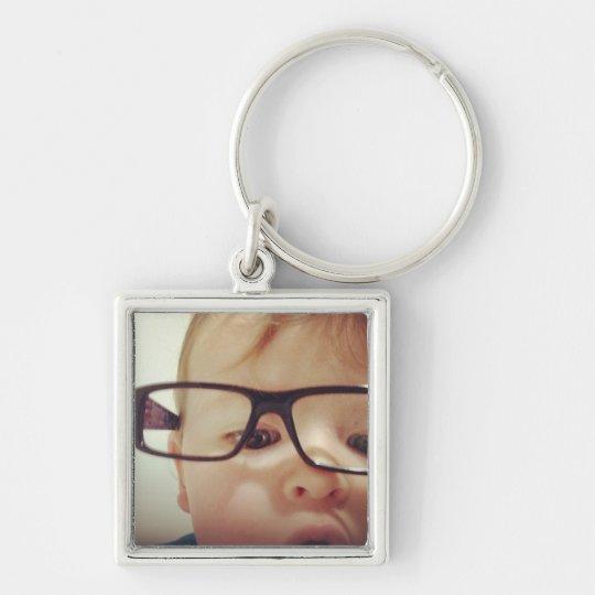 key tag Silver-Colored square key ring