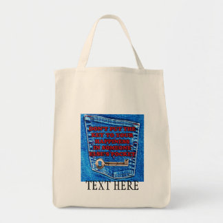Key to Happiness Pocket Quote Blue Jeans Denim Grocery Tote Bag