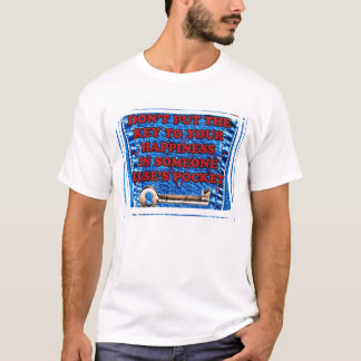 Key to Happiness Pocket Quote Blue Jeans Denim T-Shirt