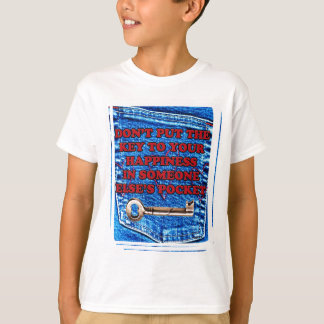 Key to Happiness Pocket Quote Denim T-Shirt