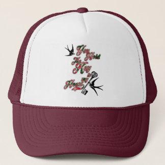 Key to my heart Flowers & Swallows Dictionary Art Cap