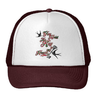 Key to my heart Flowers & Swallows Dictionary Art Cap