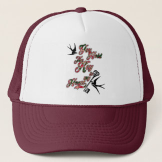 Key to my heart Flowers & Swallows Dictionary Art Trucker Hat