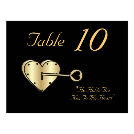 Key To My Heart Table Number Postcard