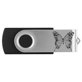 Key USB black and white butterfly, writing Swivel USB 2.0 Flash Drive