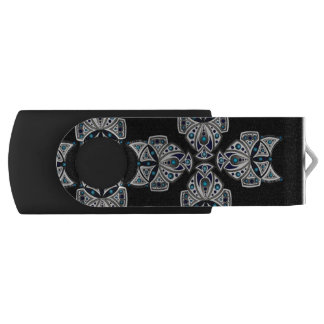 Key USB blue, black and white INCA reason Swivel USB 2.0 Flash Drive