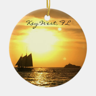 Key West, FL Sailboat Sunset Round Ceramic Decoration