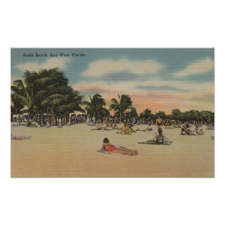 Key West, FL - View of South Beath w/ Sunbathers Poster