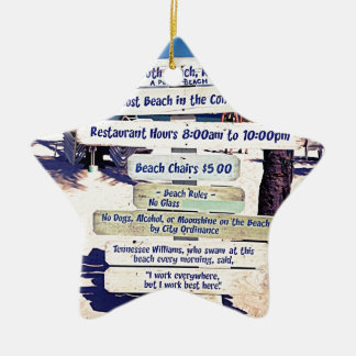 key west florida beach sign christmas ornament