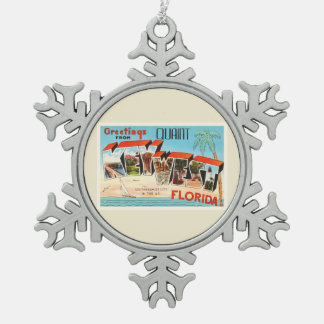 Key West Florida FL Old Vintage Travel Souvenir Pewter Snowflake Decoration