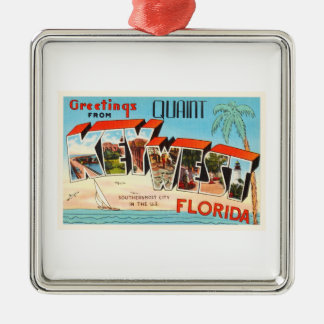 Key West Florida FL Old Vintage Travel Souvenir Silver-Colored Square Decoration