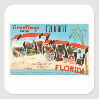 Key West Florida FL Old Vintage Travel Souvenir Square Sticker