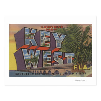 Key West, Florida - Large Letter Scenes Postcard