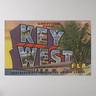 Key West, Florida - Large Letter Scenes Poster