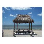 Key West Florida Tiki Hut Ocean Sea View Postcard