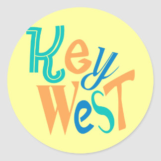 Key West fun typographic design Classic Round Sticker