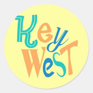 Key West fun typographic design Round Sticker