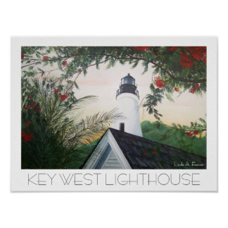 key west lighthouse florida poster