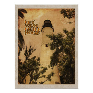 Key West Lighthouse Vintage Photo Print