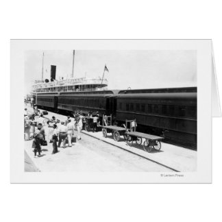 Key West Railroad Station loading Ship from Cuba Card