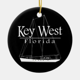 Key West Sailing Round Ceramic Decoration