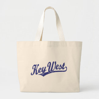 Key West script logo in blue distressed Large Tote Bag