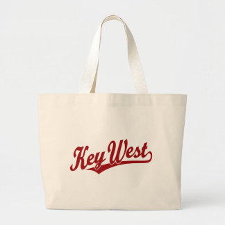 Key West script logo in red Large Tote Bag