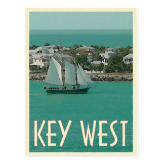 Key West Sunset Key vintage style Postcard