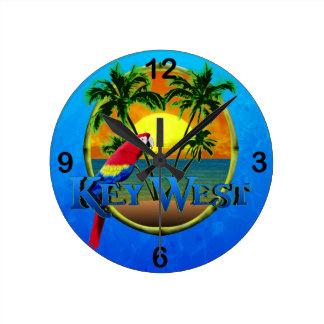 Key West Sunset Round Clock