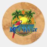 Key West Sunset Round Stickers