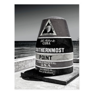 Key West to Cuba Southernmost Distance Marker Postcard