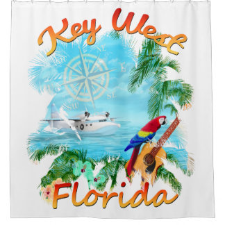 Key West Tropical Rock Shower Curtain