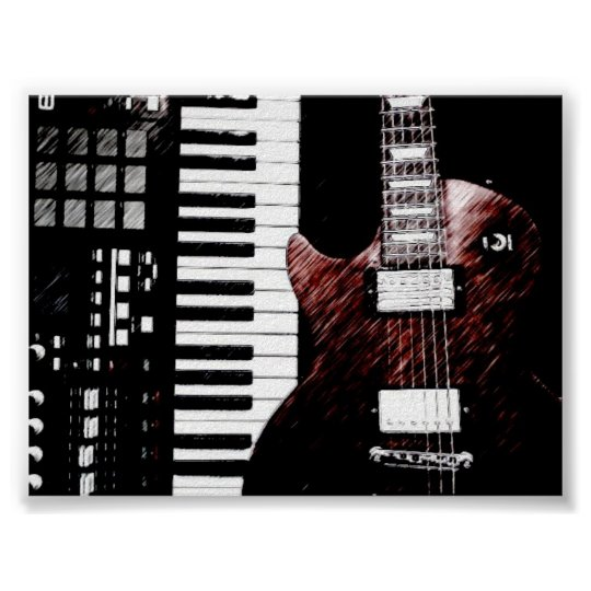 Keyboard and Guitar Poster
