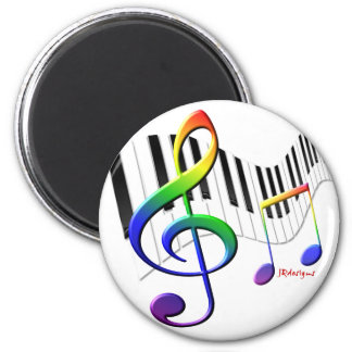 Keyboard and Treble Clef 6 Cm Round Magnet