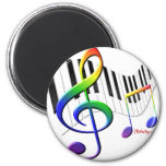 Keyboard and Treble Clef Refrigerator Magnet