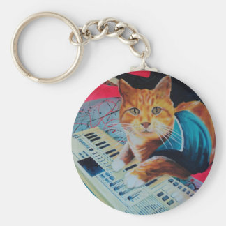 Keyboard Cat Painting Gear Basic Round Button Key Ring