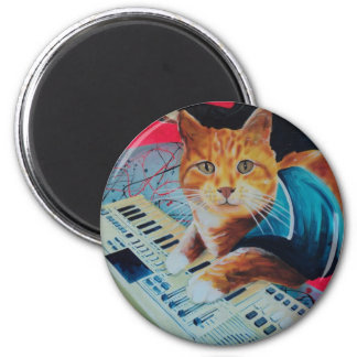 Keyboard Cat Painting Gear 6 Cm Round Magnet