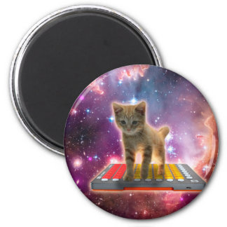 keyboard cat - tabby cat - kitty 6 cm round magnet