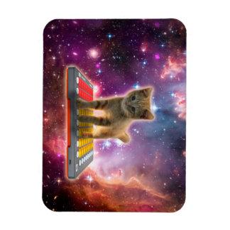 keyboard cat - tabby cat - kitty rectangular photo magnet