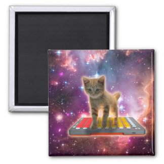 keyboard cat - tabby cat - kitty square magnet