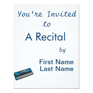 """keyboard electronic blue.png 4.25"""" x 5.5"""" invitation card"""