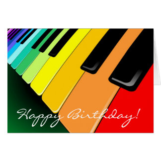 Keyboard Music Party Colors Card