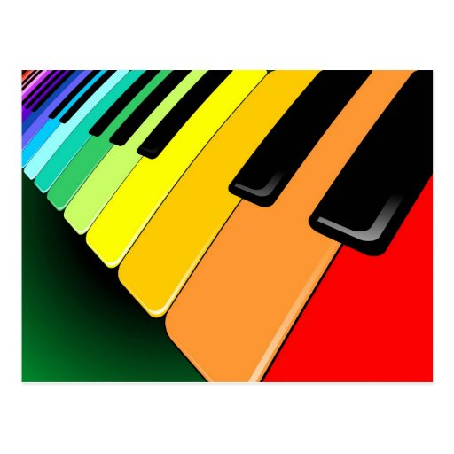 Keyboard Music Party Colors Postcard