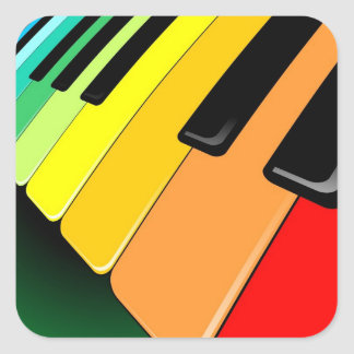 Keyboard Music Party Colors Square Sticker