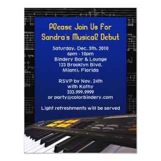 Keyboard Note Frenzy V2 4.25 x 5.5 Inch Invitation