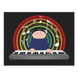 Keyboard player post card