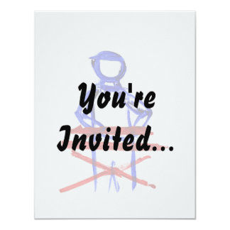 Keyboard player stick outline red blue cutout 11 cm x 14 cm invitation card