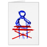 Keyboard player stick outline red blue cutout cards