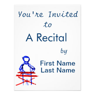 Keyboard player stick outline red blue cutout personalized invitation