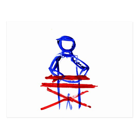 Keyboard player stick outline red blue cutout postcard